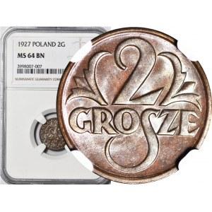 2 grosze 1927, mennicze, kolor BN