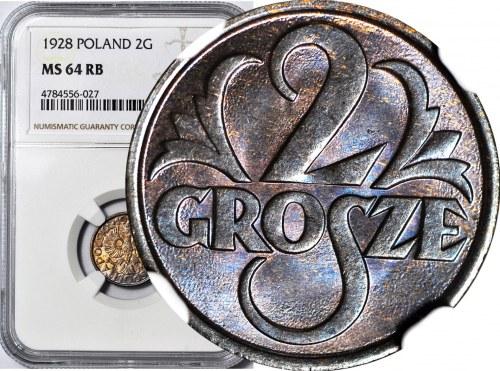 2 grosze 1928, mennicze, kolor RB