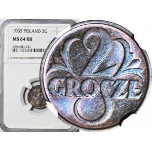 2 grosze 1935, mennicze, kolor RB