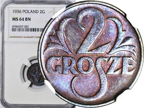 2 grosze 1936, mennicze, kolor BN
