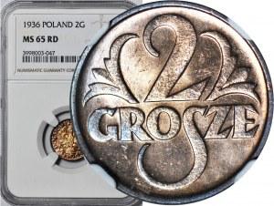 2 grosze 1936, mennicze, kolor RD