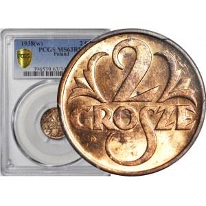 2 grosze 1938, mennicze, kolor RD