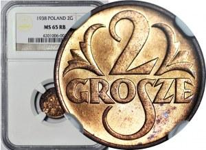 2 grosze 1938, mennicze, kolor RB