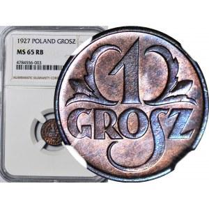 1 grosz 1927, menniczy, kolor RB