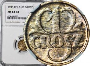 1 grosz 1935, menniczy, kolor RB