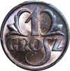 1 grosz 1937, menniczy, kolor RB
