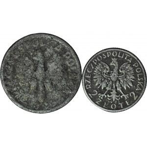 Rzadkość, 2 szt. 2 zł 1925 i 1933 FAŁSZERSTWA Z EPOKI