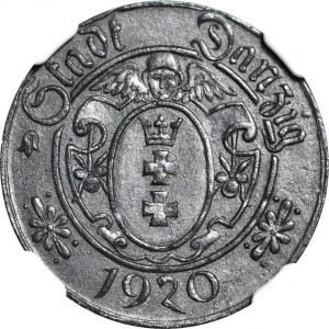R-, Wolne Miasto Gdańsk, 10 fenigów 1920 odmiana 61 perełek, mennicze, rzadkie