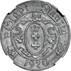 Wolne Miasto Gdańsk, 10 fenigów 1920 odmiana 58 perełek, okołomennicze