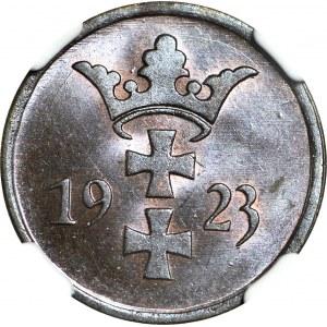 Wolne Miasto Gdańsk, 2 fenigi 1923, mennicze, kolor BN