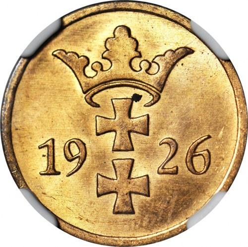 Wolne Miasto Gdańsk, 2 fenigi 1926, mennicze, kolor RD