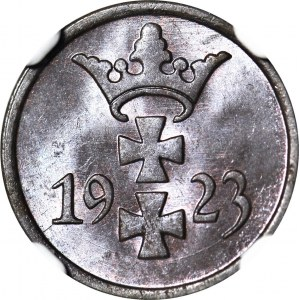 Wolne Miasto Gdańsk, 1 fenig 1923, menniczy, kolor BN