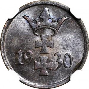 Wolne Miasto Gdańsk, 1 fenig 1930, menniczy, kolor BN