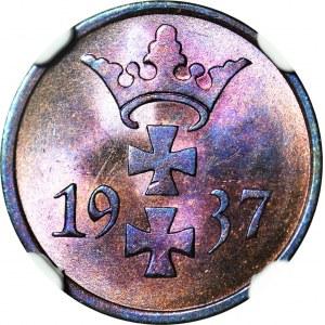 Wolne Miasto Gdańsk, 1 fenig 1937, menniczy, kolor RB