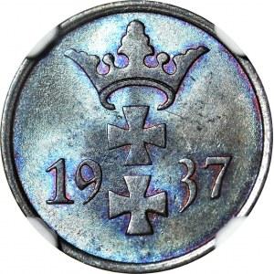 Wolne Miasto Gdańsk, 1 fenig 1937, menniczy, kolor BN