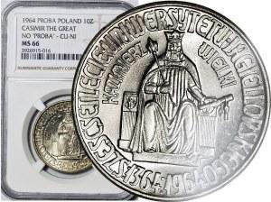 R-, 10 złotych 1964 Kazimierz Wielki bez napisu PRÓBA