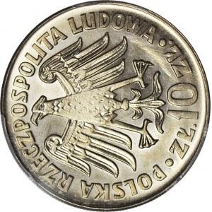 R-, 10 złotych 1964 Kazimierz Wielki, napis wypukły, SKRĘTKA 90 stopni w lewo, rzadkie