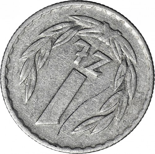 R-, 1 złotych 1975, odwrotka 225 stopni w prawo, rzadkie