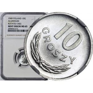 R-, 10 groszy 1949, SKRĘTKA 45 stopni, rzadkie