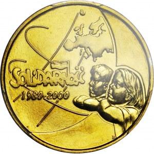 R-, 2 Złote 2000 Solidarność, DESTRUKT, ODWROTKA 180 st.