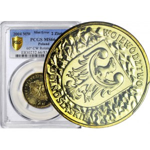 R-, 2 złote 2004, Województwo dolnośląskie, SKRĘTKA 45 st., rzadka