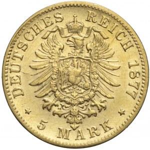 Niemcy, Badenia, 5 marek 1877 G, Fryderyk I, rzadkie