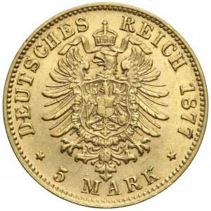Niemcy, Bawaria, 5 marek, 1877 D, Ludwig II, rzadkie