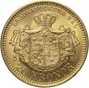 Szwecja, 20 koron 1899, Oskar II, mennicze