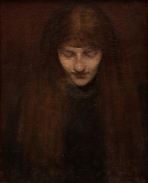 Olga Boznańska, PORTRET KOBIETY Z DŁUGIMI WŁOSAMI, ok. 1888