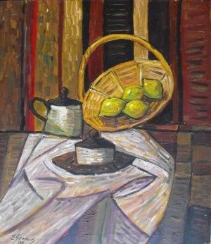 Gerlach Eugeniusz (1941), Martwa natura z koszykiem i cytrynami, 1978