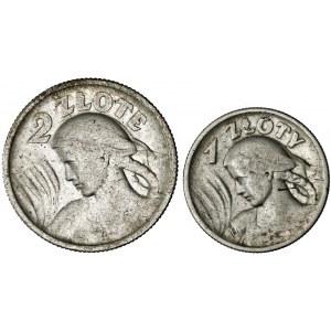 II RP, zestaw 2 monet, srebro, kobieta z kłosami