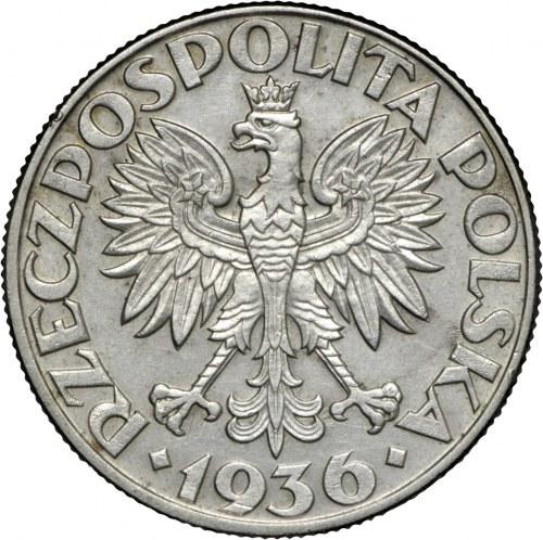 II RP, 5 zł 1936, Żaglowiec, Ag 750
