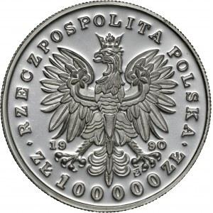 100 000 zł 1990, Tadeusz Kościuszko, Ag 999, mały tryptyk