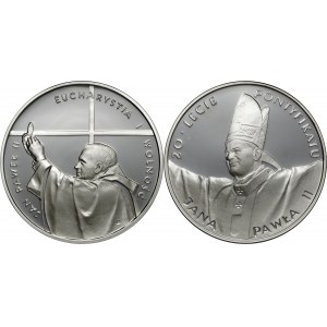 zestaw, 10 zl 1997, Jan Paweł II - Kongres Eucharystyczny, Ag 925, 10 zł 1998, XX-lecie Pontyfikatu Jan Paweł II, Ag 925
