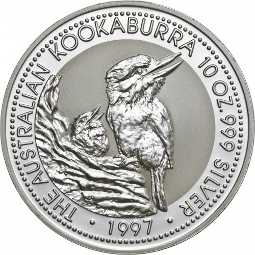 Australia, 10 dolarów 1997, kookaburra, 10 uncji srebra Ag 999 (311 g)