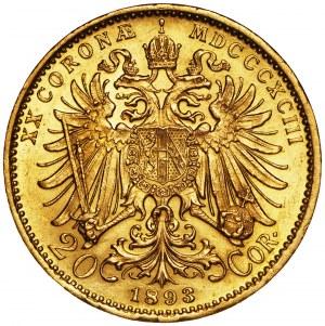 Austria, 20 koron 1893, Franciszek Józef, złoto Au 900