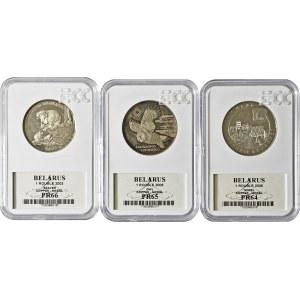 Białoruś, zestaw 3 monet, miedzionikiel, w slabach