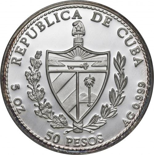 Kuba, 50 pesos 1994, ryba mero amarillo, 5 uncji srebra Ag 999, emalia