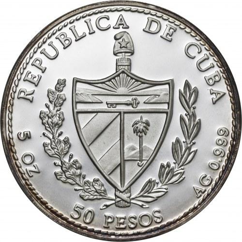 Kuba, 50 pesos 1994, konik morski, 5 uncji srebra Ag 999, emalia