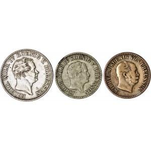 Niemcy, Prusy, zestaw 3 monet