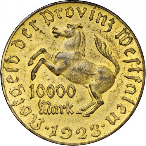 Niemcy, Westfalia, 10 000 marek 1923, tombak złocony