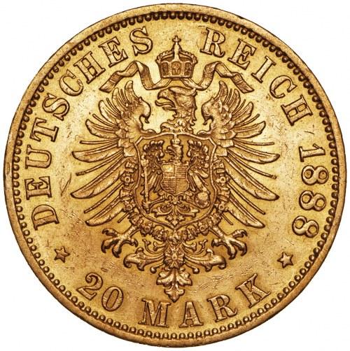 Niemcy, 20 marek 1888, Fryderyk, A, złoto Au 900