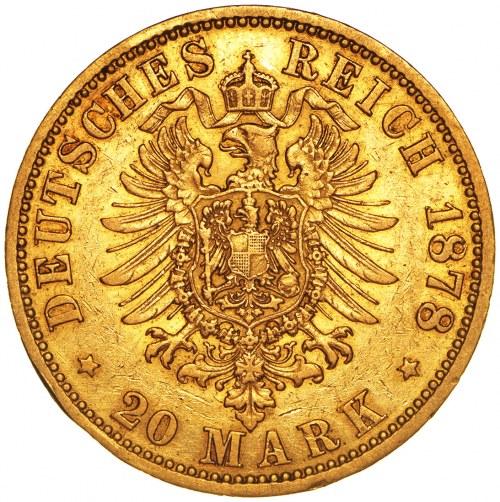 Niemcy, 20 marek 1878, Wilhelm, A, złoto Au 900