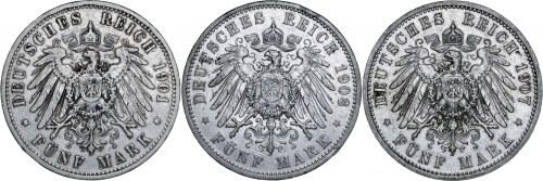 Niemcy, zestaw 3 monet, Wilhelm II, 5 marek 1901, 1907 i 1908, A, srebro