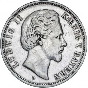 Niemcy, 5 marek 1875, Ludwig II, D, srebro