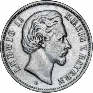 Niemcy, 5 marek 1876, Ludwig II, D, srebro