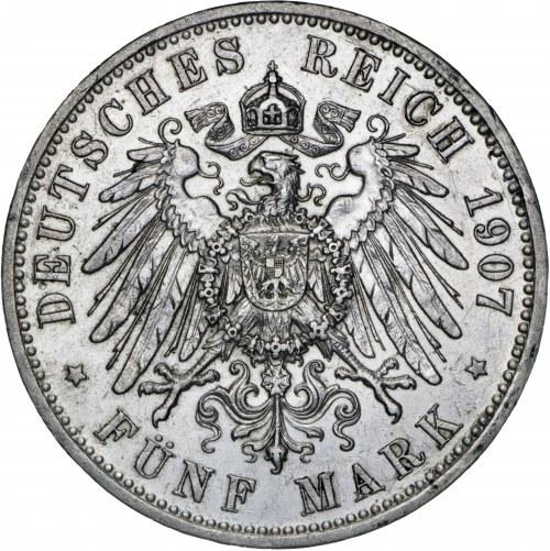 Niemcy, 5 marek 1907, Wilhelm II, F, srebro