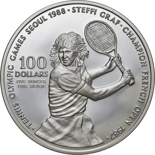 Niue, 100 dolarów 1987, Steffi Graf, olimpiada w Seulu 1988, 5 uncji srebro Ag 999