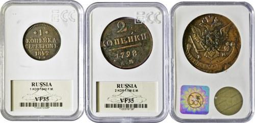 Rosja, zestaw 3 monet (1,2 i 5 kopiejek), w slabach