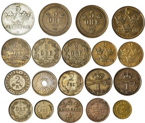 Skandynawia, zestaw 19 monet